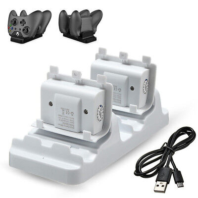 Dual Dock Charger Station for Xbox One Slim Controller + 2 Rechargeable Battery