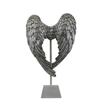Antique Silver Angel Wing Decoration On Stand Decorative Display Home Ornament