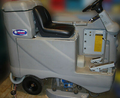 Beautiful Advance Advenger 2810D Rider Scrubber, Ride On, 36V, Used