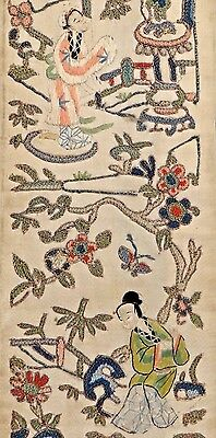19th C. Qing [Ching] Dyn. Chinese Silk Embroidered Sleeve Panel