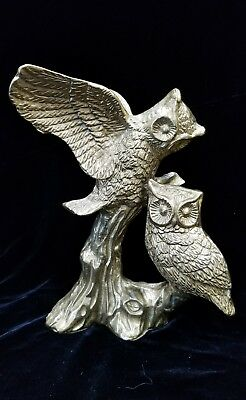 Vtg Vintage Brass Two Horned Owls Statue Figurine Tree Branch Stump Heavy