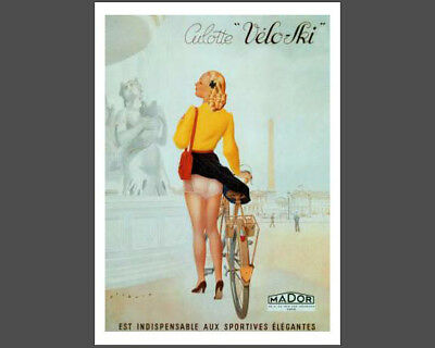 Classic Bicycling CULOTTE VELO-SKI Vintage c.1930 Cycling POSTER Reprint