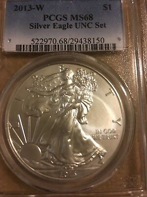 "2013-w Silver Eagle UNC SET - PCGS MS-68 from ""Annual Uncirculated Dollar Set"""
