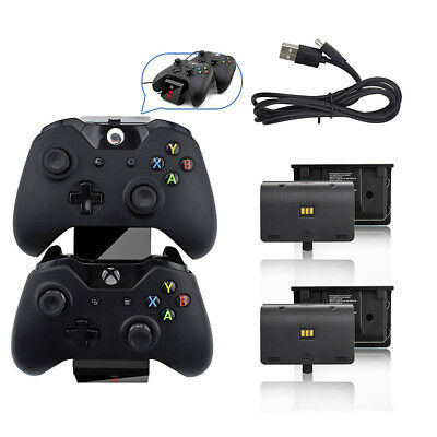 Dual Dock Charger Station for Xbox One Controller + 2 pcs Rechargeable Battery