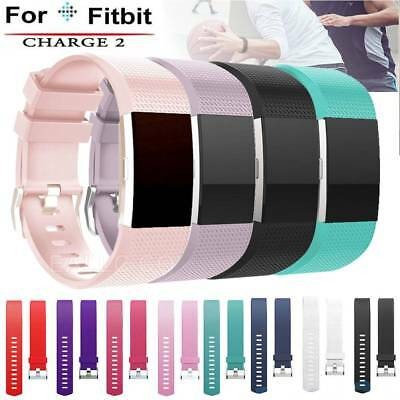 Genuine Soft Silicone Sports Strap Replacement Watch Band For Fitbit Charge 2