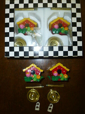Mary Engelbreit birdhouse hook curtain holdback set lot 2 new NIP + 2 used