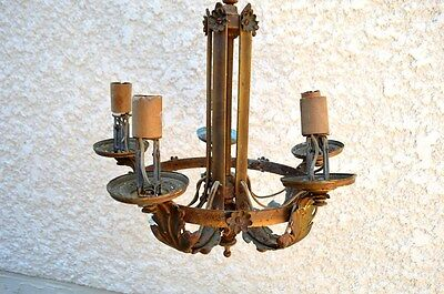 Vintage Art Nouveau Floral 5 Light Arm Brass Copper Chandelier Hanging Fixtur
