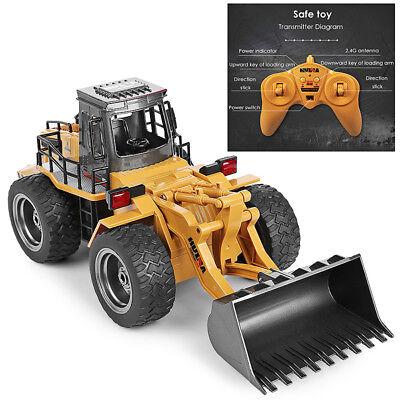 RC 6CH 1/14 Truck Metal Bulldozer Remote Control Construction Vehicle Toy