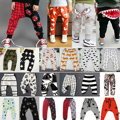 Newborn Kids Baby Boys Girl Elastic Harem Pants Toddler Trousers Printed Bottoms