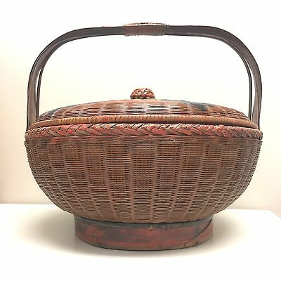 "$290 Antique 1890c Red 14""D Chinese Bamboo Woven Wedding Basket Vintage Picnic"