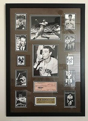 Joe DiMaggio NY Yankee  Hand Signed  Framed Autographed check w/ Photo collage