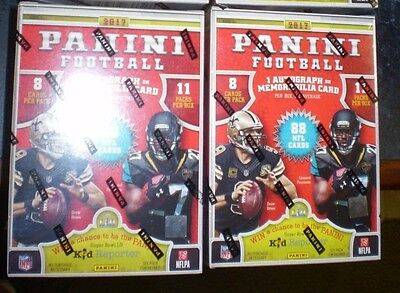 2 X  2017 Panini Football Sealed Blaster Box 11 Packs of 8 NFL cards 1 hit per