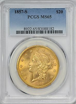 1857-S Liberty Head Gold Double Eagle PCGS MS65