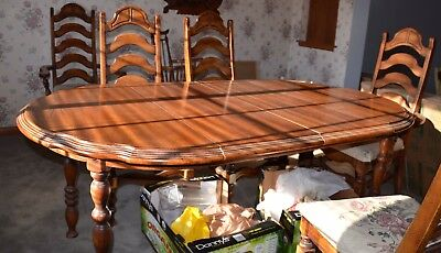 Antique 70s Dining room Set (Mediterranean) With Hutch And 6 Chairs