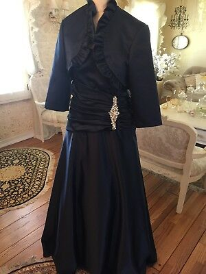 Mother Of Bride Plus Size Dress, 2 Pcs Navy Satin Gown Size 16