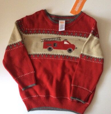 Adorable Gymboree Red Sweater With Fire truck NWT Size 2T