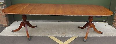 Large Reproduction Yew-Wood Extending Dining Table With Two Leaves Antique Style