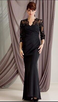 Mother Of Bride Plus Size Dress, Lace And Chiffon Long Sleeve Size 16 Dress