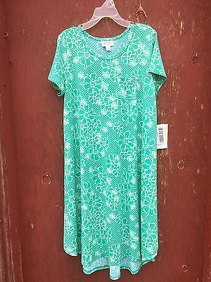 NWT LuLaRoe Girls size 12 Mint/White Floral print Scarlett Dress