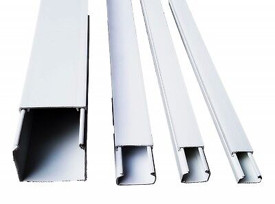 1M 2M Trunking Electrical Cable Trunking Wire Channel Plastic Cover White TV/SAT