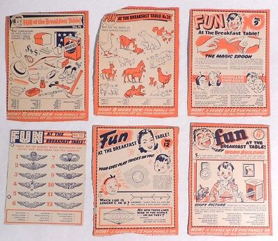 P467. Vintage Lot of 6: FUN AT THE BREAKFAST TABLE Box Back Wheaties (1940s) [