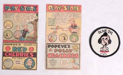 P465. Vintage Lot of 3: POPEYE PLAY-STORE Newspaper Clippings & OLIVE OYL Patch