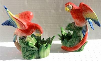 1986 FF Fitz & Floyd Jungle Parrot Colorfully Handpainted 2 Candlestick Holders