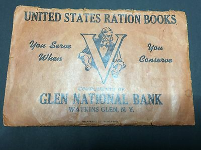 Vintage WW2 World War Two Watkins Glen National Bank Ration Book
