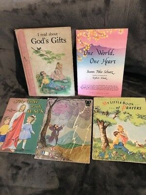 5 Books- Gods Gifts, One World One Heart, My Day With Jesus + 2