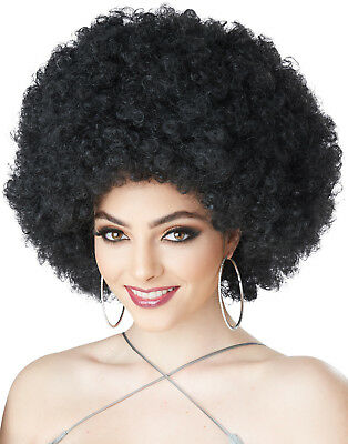 1970's Foxy Lady Black Curly Adult Hippie Retro Afro Costume Wig