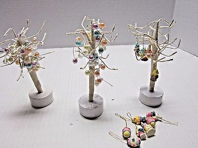 """Set of 3 Midwest Importers Miniature Easter Trees with Ornaments 6"""""""