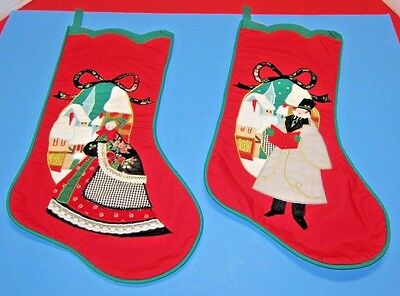 VTG PAIR House of Hatten Christmas Stockings Victorian Dickens Applique Quilted