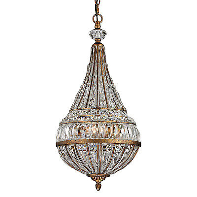 19th C Restoration Style French Empire Chandelier Pendant Crystal & Glass Beads