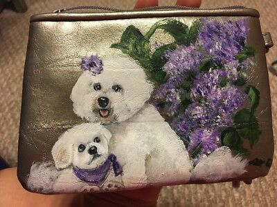 NWT Hand Painted Bichon Frise Wristlet Style & Co Silver