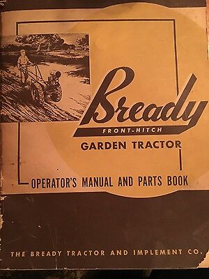 Bready Front Hitch Garden Tractor Manual/parts Book