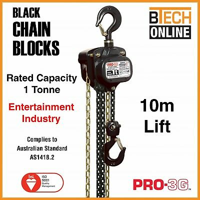 Chain Block Black 1T  10m Lifting Height - Entertainment Industry 10M Hand Chain