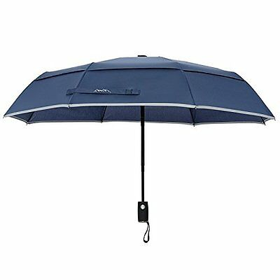 NEW Arcadia Outdoors Vented Double Canopy Wind Resistant Travel Umbrella with Re