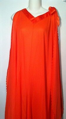 Vintage Mod Retro Palazzo Pajamas Wide Leg Coral Lounger 60's Sleepwear Lingerie