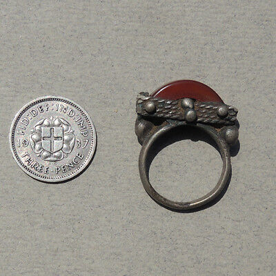 an old antique agate carnelian and silver ring pendant hair bead mali #52