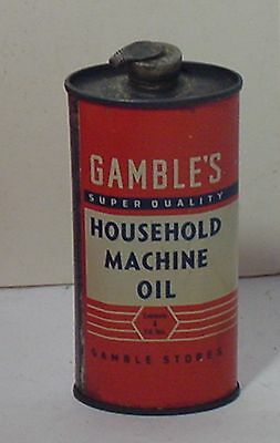 Gamble's Super Quality Household Machine  Oil Tin With Spout  4 Fluid Ozs