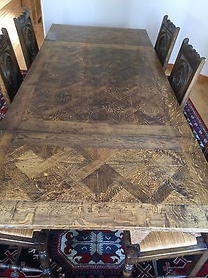 Antique French Dining Room Set - Parquet Table Top with 6 Matching Chairs