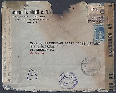 Egypt 1944 Judaica War Time Censored & Fire Damaged Cover From Maurice Cohen To