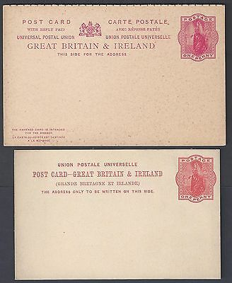 UK GB GREAT BRITAIN & IRELAND 1890's TWO MINT POSTAL CARDS ONE WITH REPLY CARD