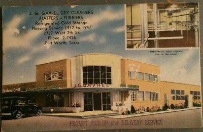 1940's JG Gavrel FORT WORTH TX Dry Cleaners Hatters Furriers INK BLOTTER Ad