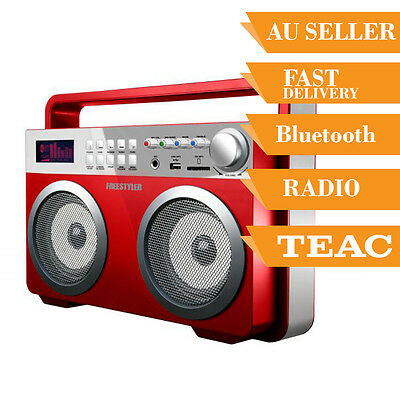High Power Speaker Ghetto Blaster Boombox with Bluetooth USB FM AUX Red