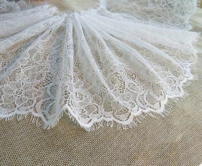 3M Eyelash Lace Trim Floral Double Scalloped Wedding Bridal Dress Sewing Craft
