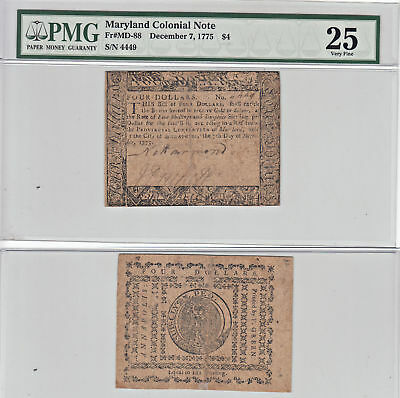 12/7/1775 $4 Maryland Colonial Currency PMG Very Fine-25
