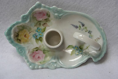 Vintage Signed Hand Painted Candle Holder With Roses