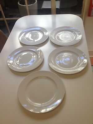 5 Large Dinner Plates White Made in England 31 cm