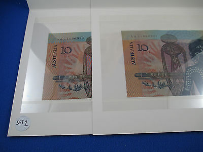 1988 First Polymer Commemorative $10 Note in Folder Prefix AA - Consecutive Pair
